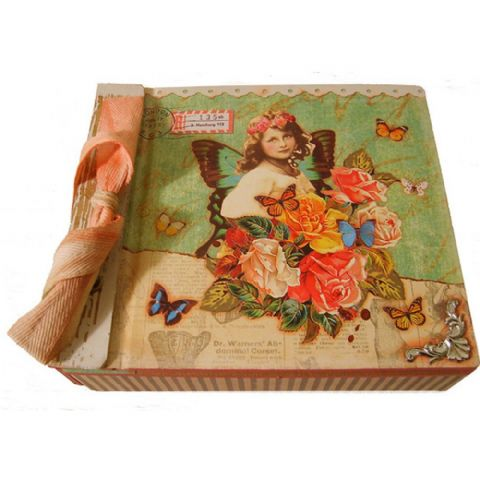 Vintage Butterfly Print Storage Box with Bow